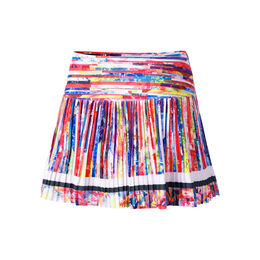 Long Techno Stripe Pleated Skirt