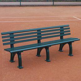 Tennisplatzsitzbank mit Lehne, Länge 2,00 m, grün