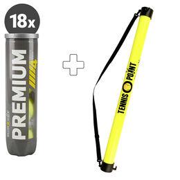 18x Premium Tennisball 4er + Ballsammelröhre