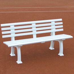 Tennisplatzsitzbank mit Lehne, Länge 2,00 m, weiß