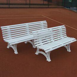Tennisplatzsitzbank mit geschwungener Lehne, weiß, 2m